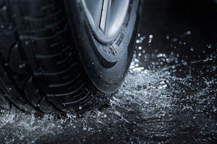 water on tires splashing rain flood