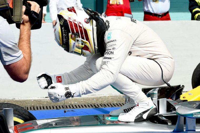 Hamilton Celebrates His Win