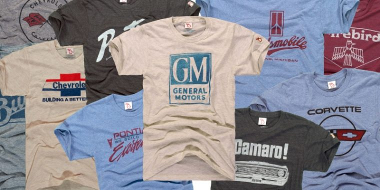General Motors branded apparel T-Shirts from The Mitten State