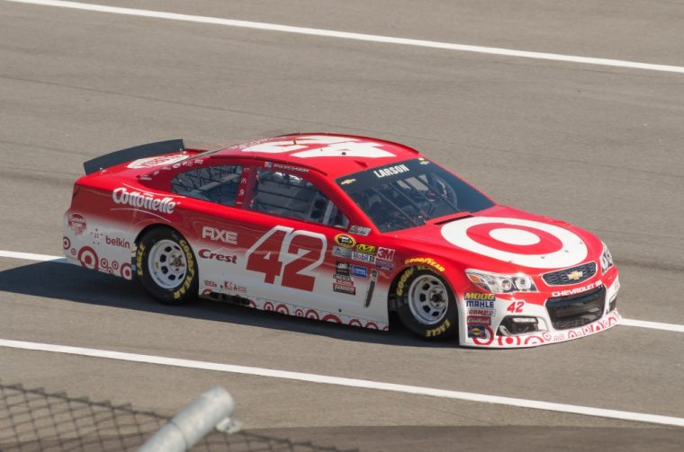 Kyle Larson drove his Chevy racecar to victory in Sunday's NASCAR race at Michigan