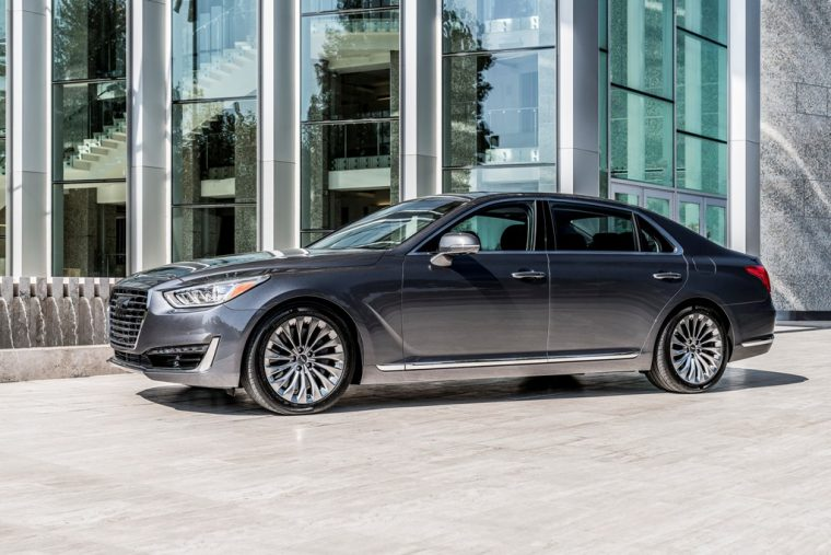 2017 Genesis G90 model overview grey sedan side profile