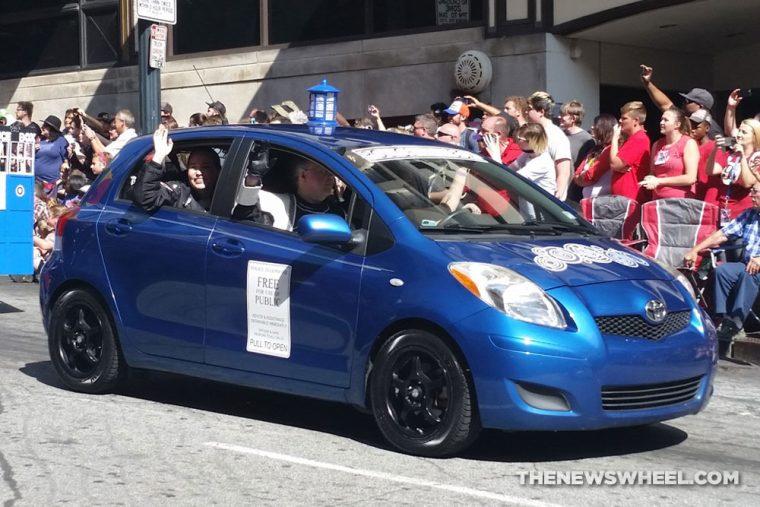 Blue Toyota Yaris Dr. Who Tardis car at Dragon Con Atlanta Parade
