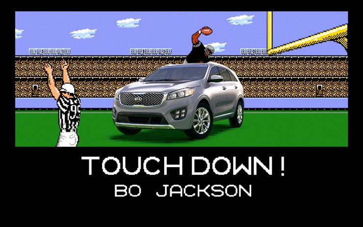 Bo Jackson and Brian Bosworth in Kia Tecmo Super Bowl ad