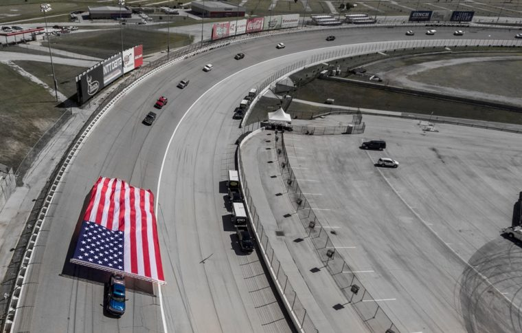The 2017 Silverado HD displayed its power by towing a large flag around Texas Motor Speedway