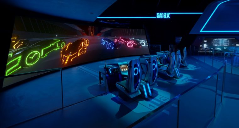 "The newly opened ""TRON Realm, Chevrolet Digital Challenge"" at Tomorrowland in Disneyland Shanghai"