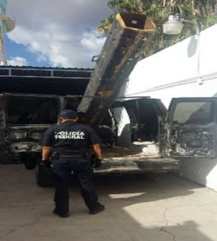 Mexican National Security Commission van-mounted drug bazooka
