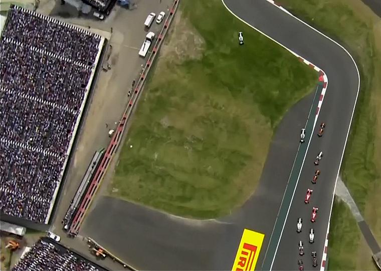 Hamilton cutting the track
