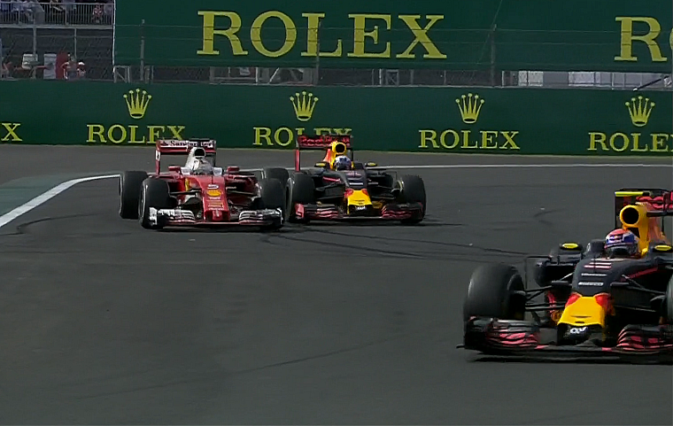 Vettel and Ricciardo battle behind Verstappen