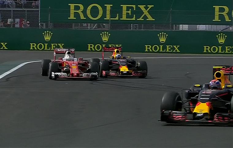 Vettel and Ricciardo battle behind Verstappen