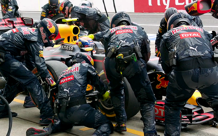 Red Bull pit stop.