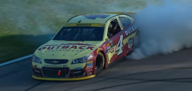 Chevy driver Kevin Harvick won Sunday's NASCAR race at Kansas Speedway