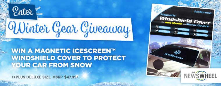 The News Wheel winter icescreen magnetic windshield cover giveaway banner
