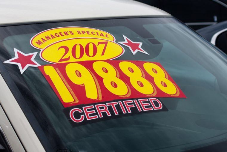 used car price sticker