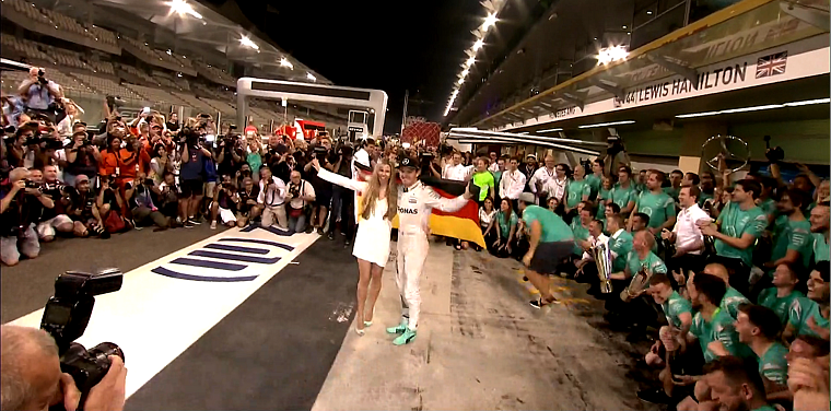 Nico and Vivian Rosberg celebrate with Mercedes