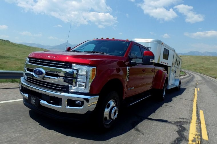 The 2017 Ford F-Series Super Duty provides seating for up to six people and carries a starting MSRP of less than $33,000