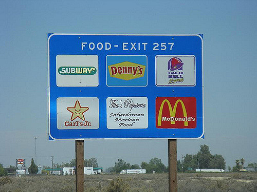 Highway food sign