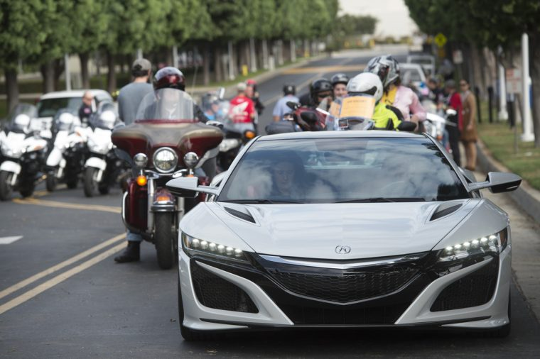 The Acura NSX supercar led the Ride for Kids event which began at American Honda's Torrance campus.