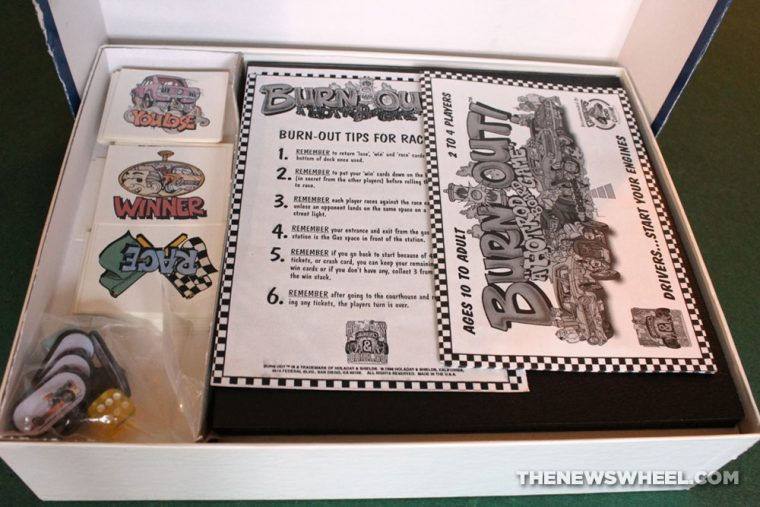 Burn Out Hot Rod Board Game Car Racing 1996 Holaday Shields unboxing