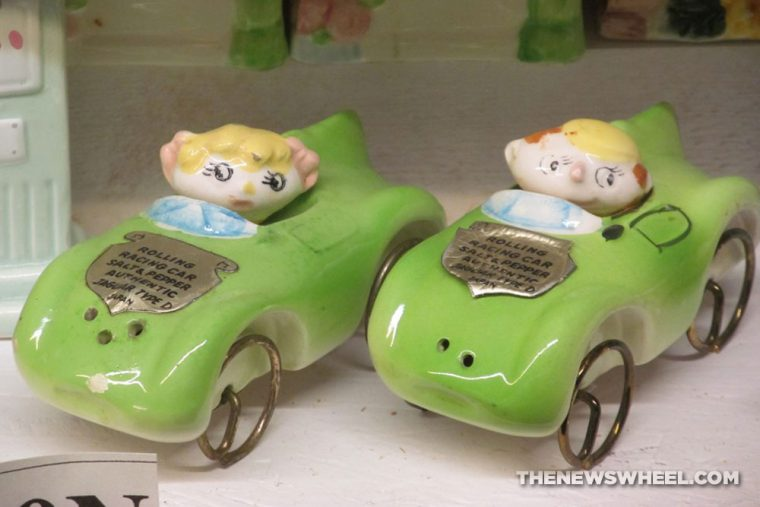 Car Themed Salt and Pepper shakers Automotive novelty green