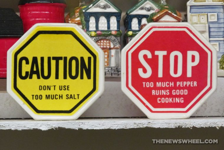 Car Themed Salt and Pepper shakers Automotive novelty stop sign