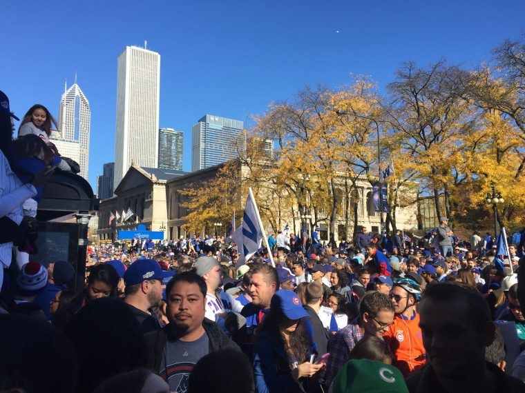 Millions of Chicago Cubs fans take to the streets downtown during the 2016 World Series parade celebration on Friday November 4, 2016