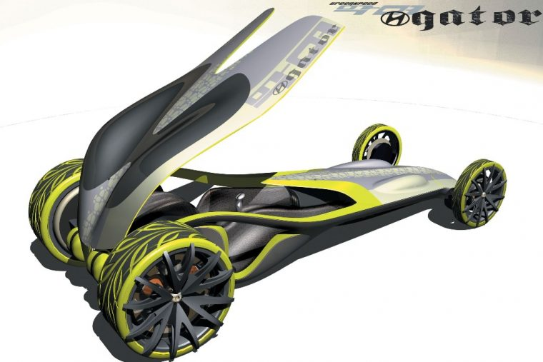 Hyundai Greenspeed Gator Concept fuel cell drag racer design doors