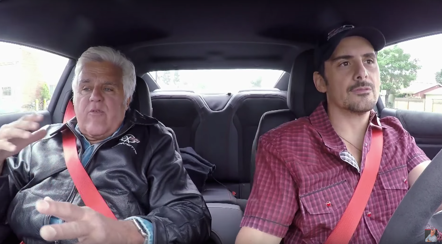 Jay Leno Teaches Brad Paisley How To Do A Burnout In The