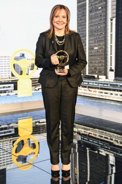 General Motors CEO and Chairman Mary Barra with Honorary Golden Steering Wheel Award