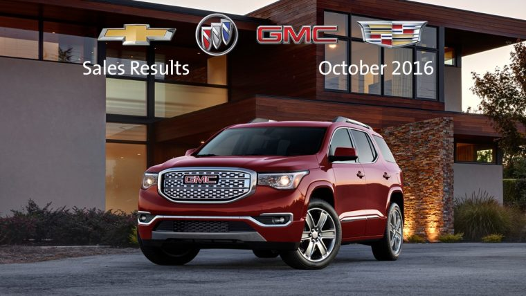 2017 GMC Acadia GM October 2016 sales