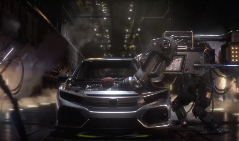 "2017 Honda Civic Hatchback Civic commercial ""Made Mean"" features robots working the assembly line"