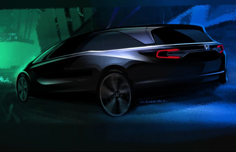 Teaser sketch of the redesigned 2018 Honda Odyssey