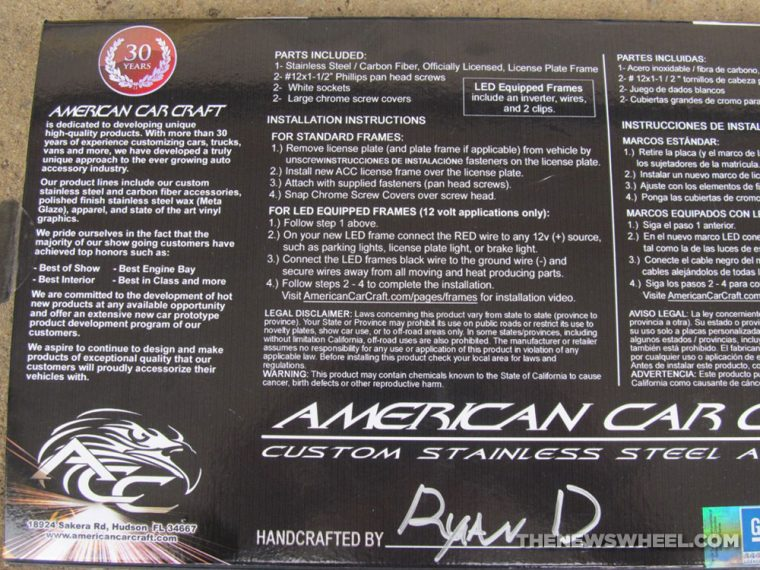 American Car Craft Premium Stainless Steel license plate frame review installation instructions
