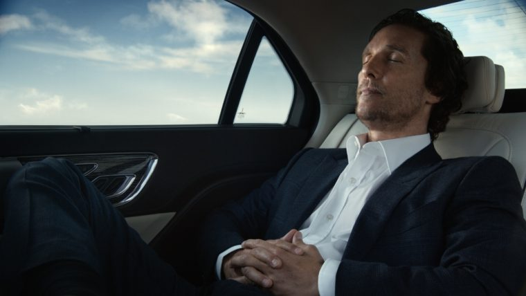 mcconaughey dresses sharply and laughs hysterically in new lincoln