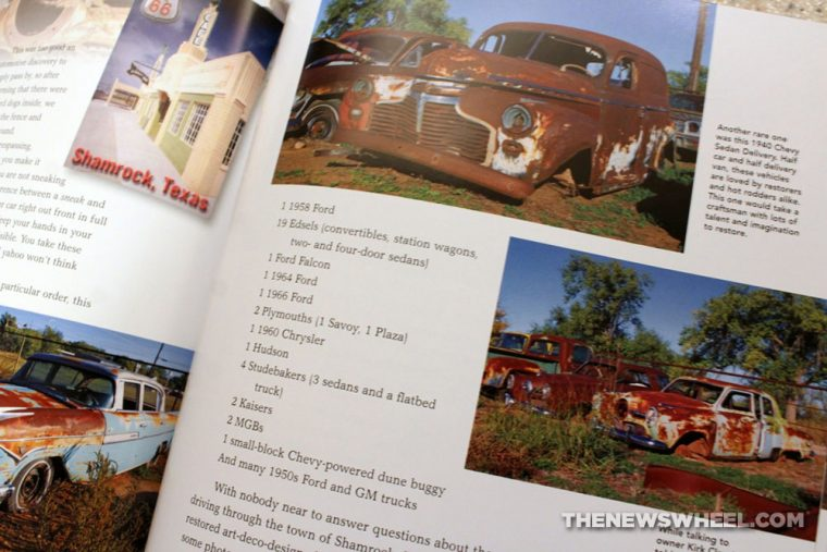 Route 66 Barn Find Road Trip book review antique classic cars Motorbooks pictures pages