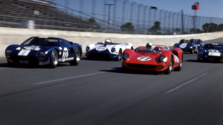 Ford and Ferrari race cars