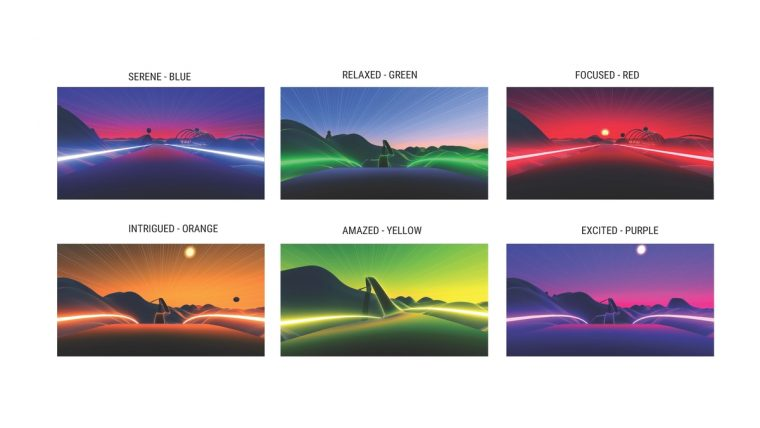 "Acura ""Mood Roads"" virtual driving experience color palette"