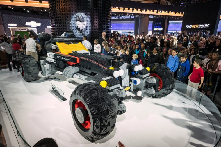 The life-size Chevrolet LEGO Batmobile which debuted at the Detroit Auto Show
