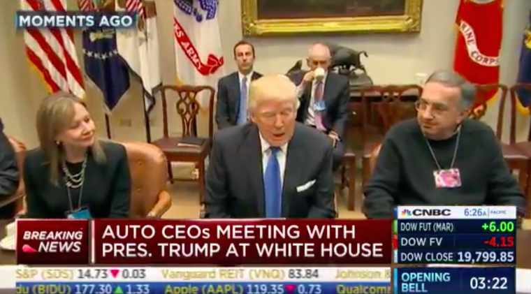 Donald Trump meets with Mary Barra and Sergio Marchionne