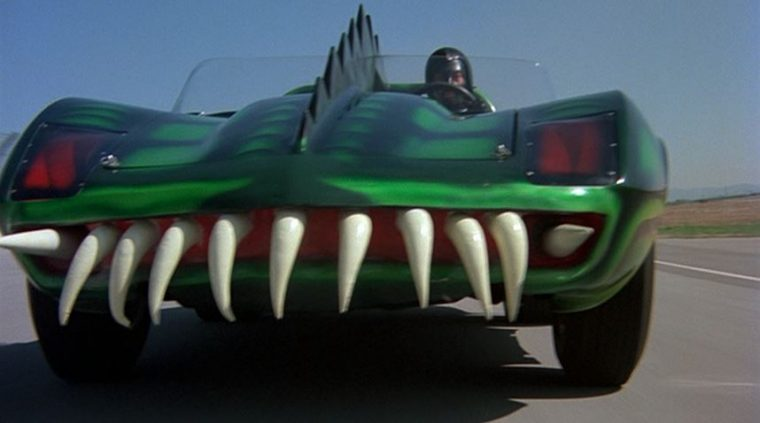 Roger Corman movie Death Race 2000 Frankenstein car dragon teeth driving scene