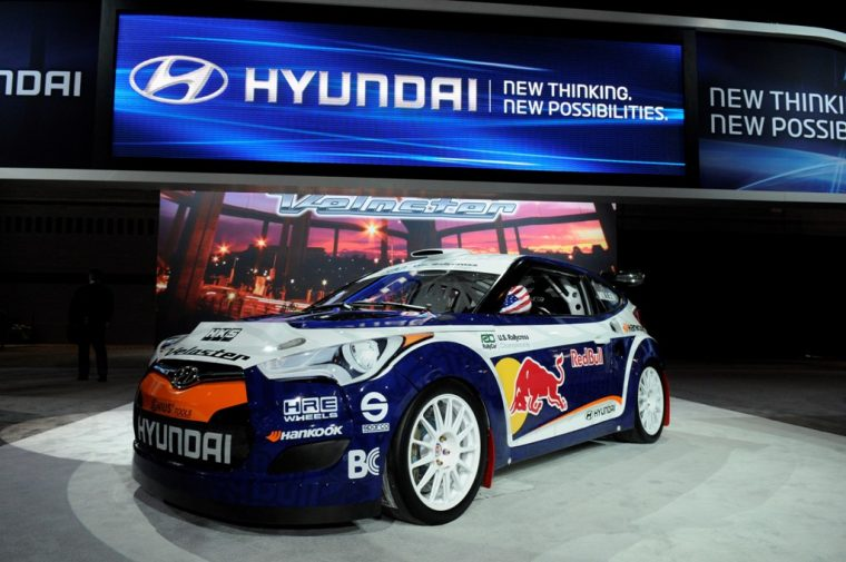 Hyundai Veloster Red Bull rally at Chicago Auto Show