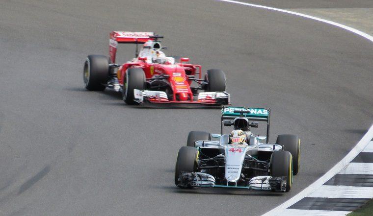Sebastian Vettel chasing Lewis Hamilton