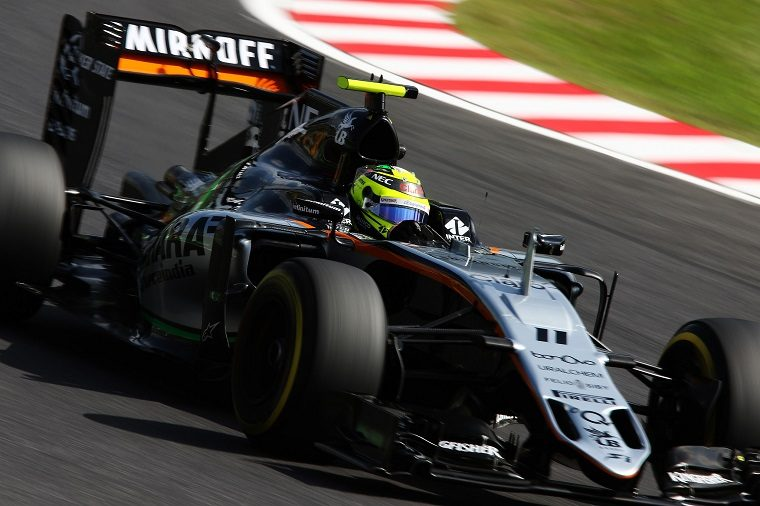 Sergio Perez driving his 2016 Force India