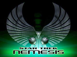 Star Trek Nemesis movie title logo Romulan art