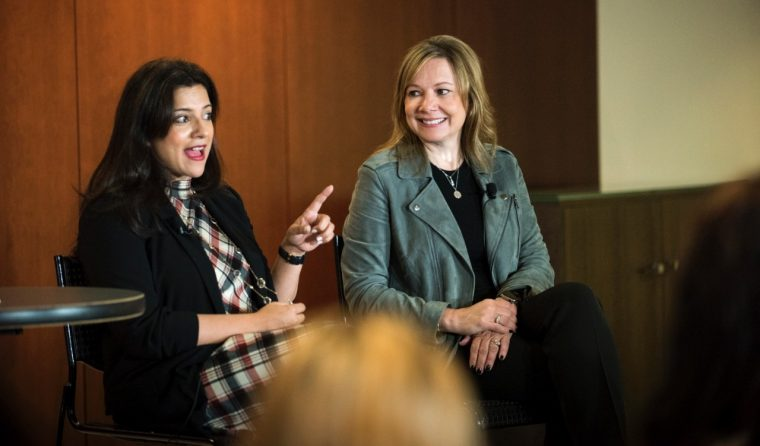 GWC Founder and CEO Reshma Saujani and GM Chairman and CEO Mary Barra