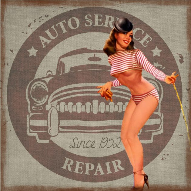 vintage auto garage pinup girl model sexism
