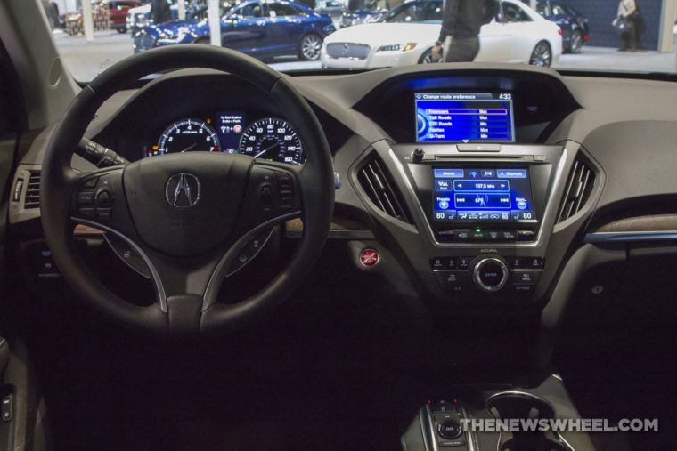 2017 Acura MDX black SUV on display Chicago Auto Show