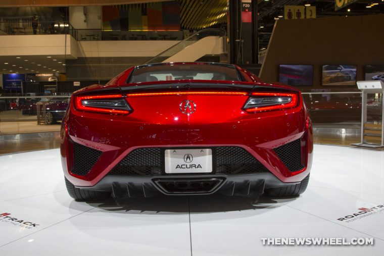 2017 Acura NSX red sports car on display Chicago Auto Show