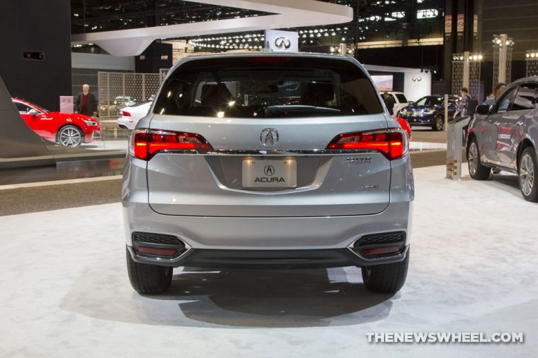 2017 Acura RDX silver SUV on display Chicago Auto Show