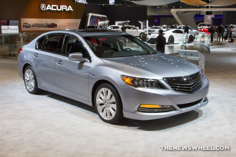 2017 Acura RLX silver sedan car on display Chicago Auto Show