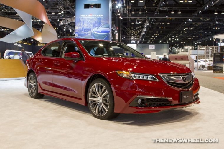 2017 Acura TLX GT red sedan car on display Chicago Auto Show